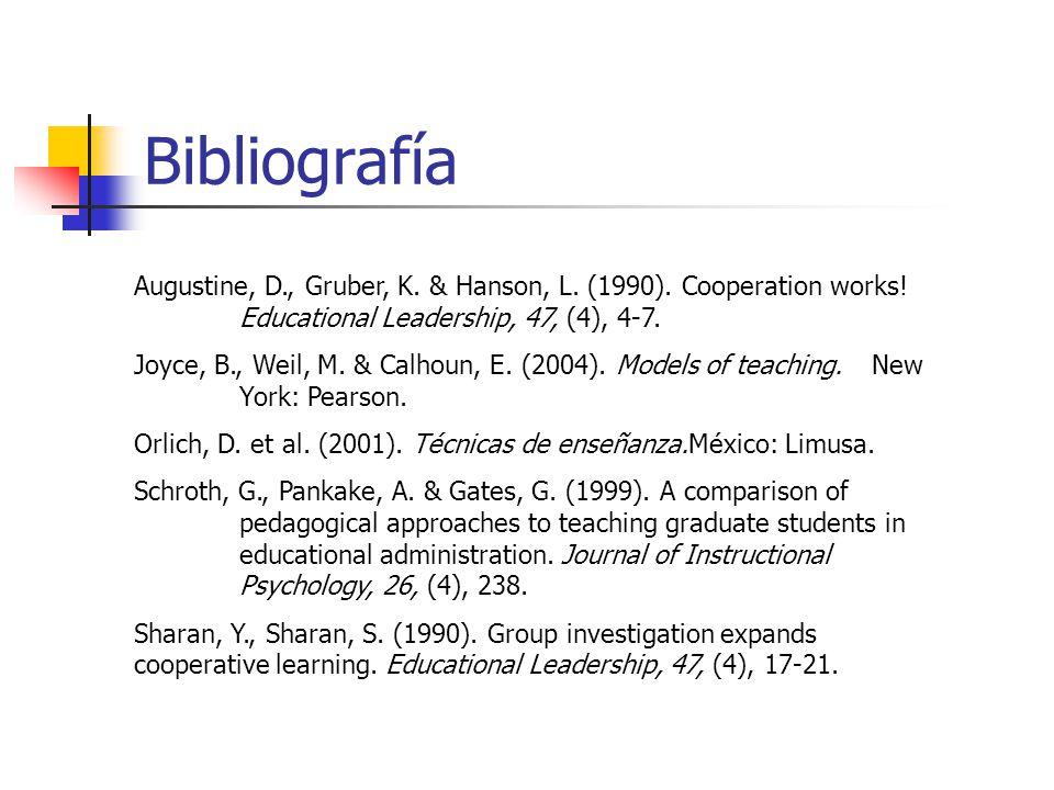 Bibliografía Augustine, D., Gruber, K. & Hanson, L. (1990). Cooperation works! Educational Leadership, 47, (4), 4-7. Joyce, B., Weil, M. & Calhoun, E.