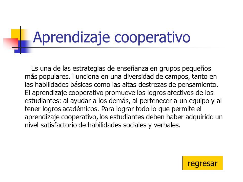 Aprendizaje cooperativo Es una de las estrategias de enseñanza en grupos pequeños más populares. Funciona en una diversidad de campos, tanto en las ha