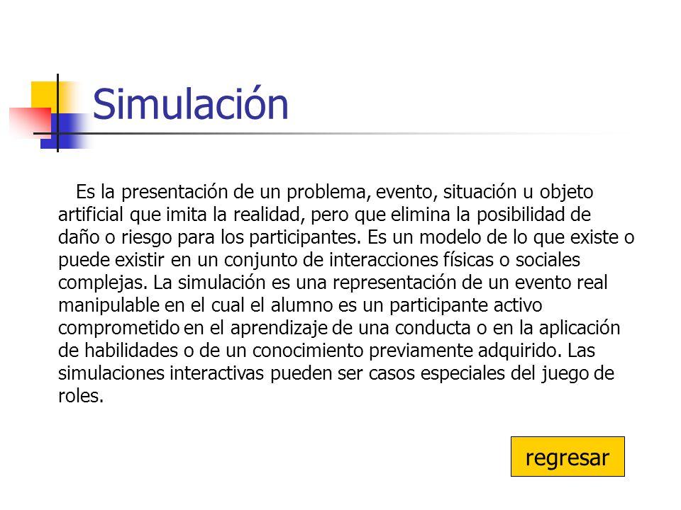 Simulación regresar Es la presentación de un problema, evento, situación u objeto artificial que imita la realidad, pero que elimina la posibilidad de