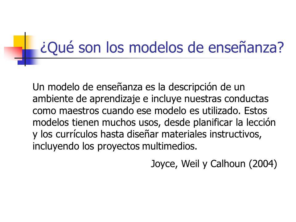 ¿Qué son los modelos de enseñanza? Un modelo de enseñanza es la descripción de un ambiente de aprendizaje e incluye nuestras conductas como maestros c