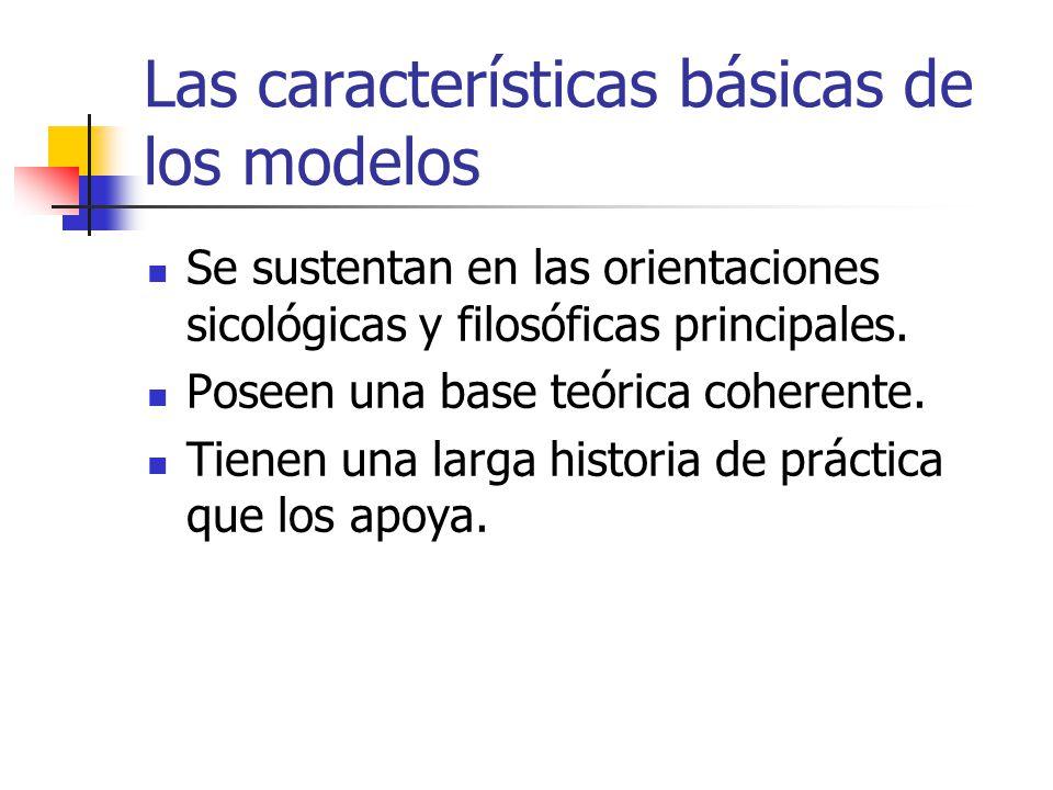 Las características básicas de los modelos Se sustentan en las orientaciones sicológicas y filosóficas principales. Poseen una base teórica coherente.