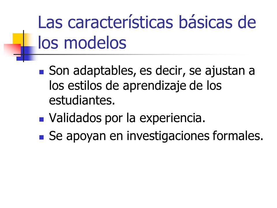 Las características básicas de los modelos Son adaptables, es decir, se ajustan a los estilos de aprendizaje de los estudiantes. Validados por la expe