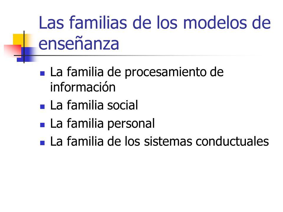 Las familias de los modelos de enseñanza La familia de procesamiento de información La familia social La familia personal La familia de los sistemas c