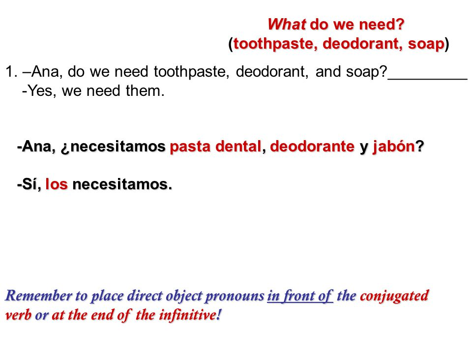 1.–Ana, do we need toothpaste, deodorant, and soap?_________ -Yes, we need them.