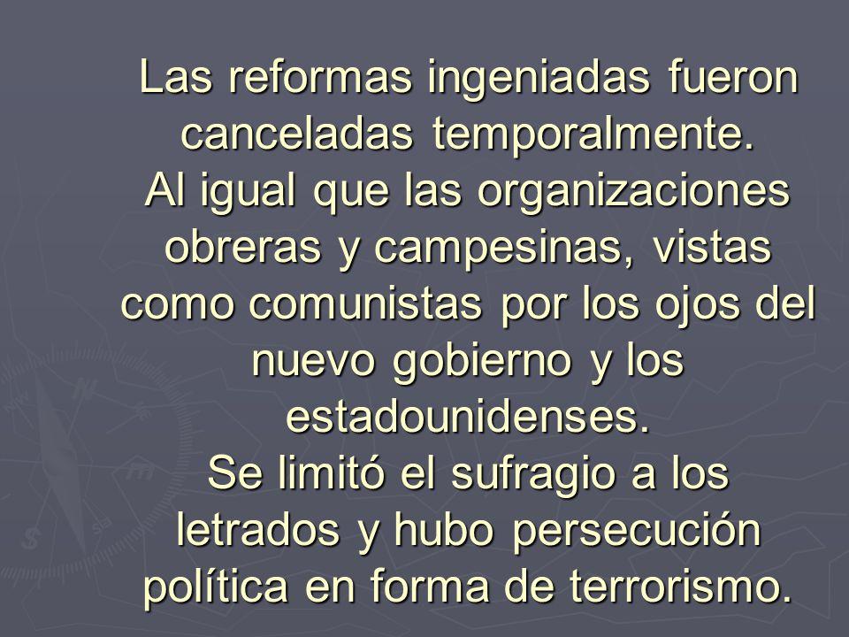 Las reformas ingeniadas fueron canceladas temporalmente. Al igual que las organizaciones obreras y campesinas, vistas como comunistas por los ojos del