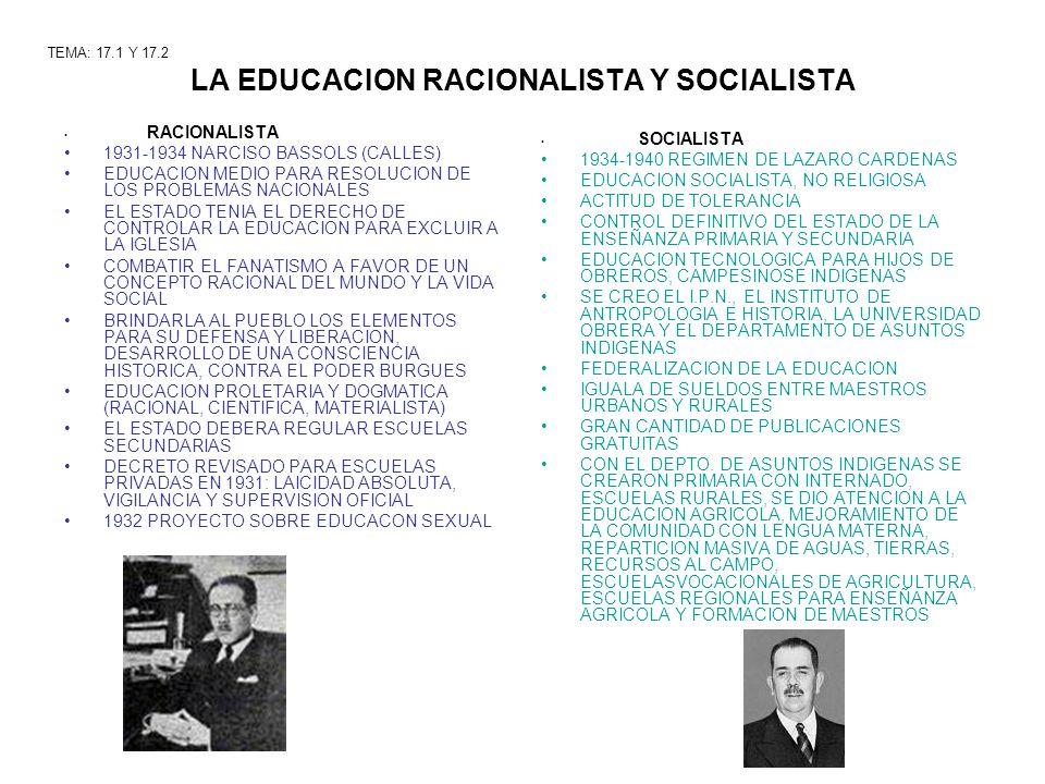 LA EDUCACION RACIONALISTA Y SOCIALISTA RACIONALISTA 1931-1934 NARCISO BASSOLS (CALLES) EDUCACION MEDIO PARA RESOLUCION DE LOS PROBLEMAS NACIONALES EL