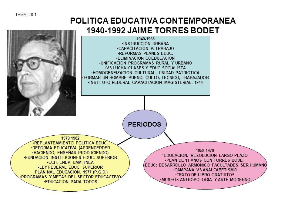 POLITICA EDUCATIVA CONTEMPORANEA 1940-1992 JAIME TORRES BODET TEMA: 18.1 1958-1970 *EDUCACION: RESOLUCION LARGO PLAZO PLAN DE 11 AÑOS CON TORRES BODET