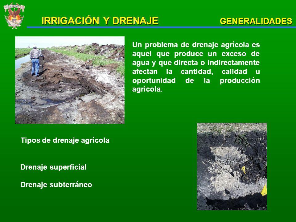 Salinidad del suelo Conocimiento del grado de afectación salina permite delimitar áreas con requerimiento de drenaje para control de sales GENERALIDADES IRRIGACIÓN Y DRENAJE Funcionamiento de drenaje en terrenos vecinos o similares Definición de espaciamiento y otros parámetros pueden hacerse a partir de la experiencia local