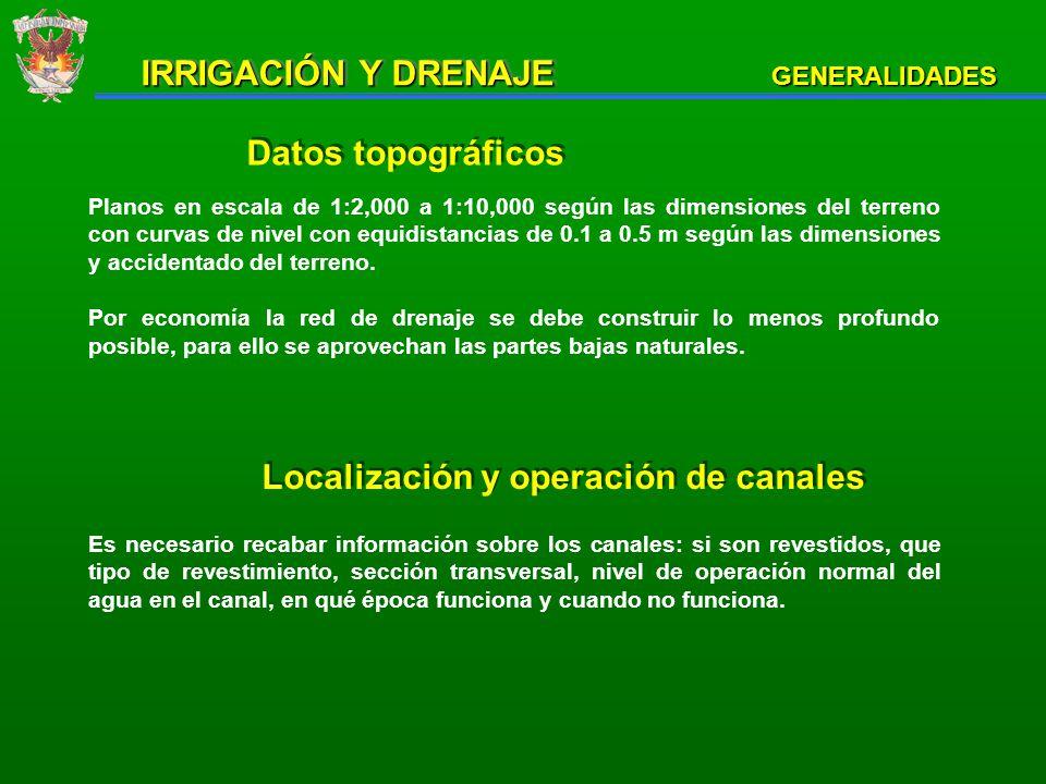 Localización y operación de drenes Es importante para conocer los sitios de posibles descargas de las aguas que colecte la red de drenaje.