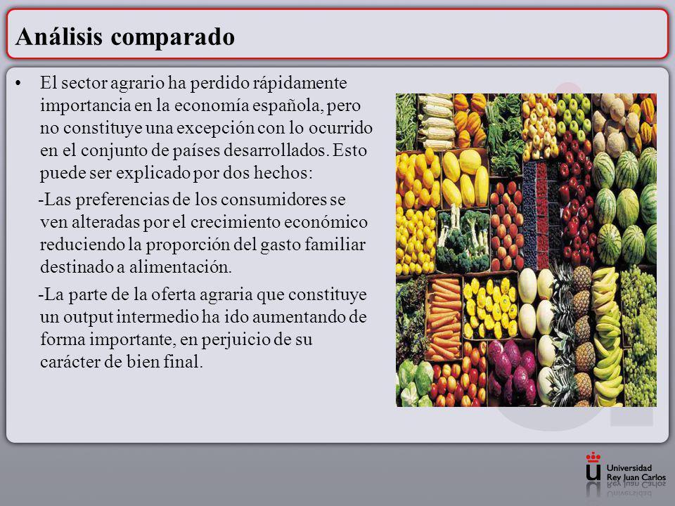 El sector agrario ha perdido rápidamente importancia en la economía española, pero no constituye una excepción con lo ocurrido en el conjunto de paíse