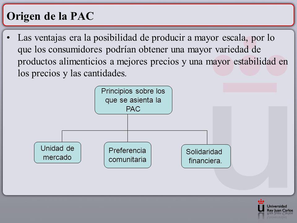 Origen de la PAC Las ventajas era la posibilidad de producir a mayor escala, por lo que los consumidores podrían obtener una mayor variedad de product