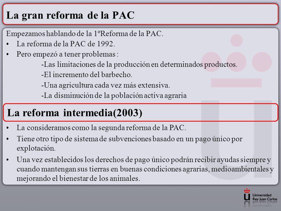 La gran reforma de la PAC Empezamos hablando de la 1ºReforma de la PAC. La reforma de la PAC de 1992. Pero empezó a tener problemas : -Las limitacione