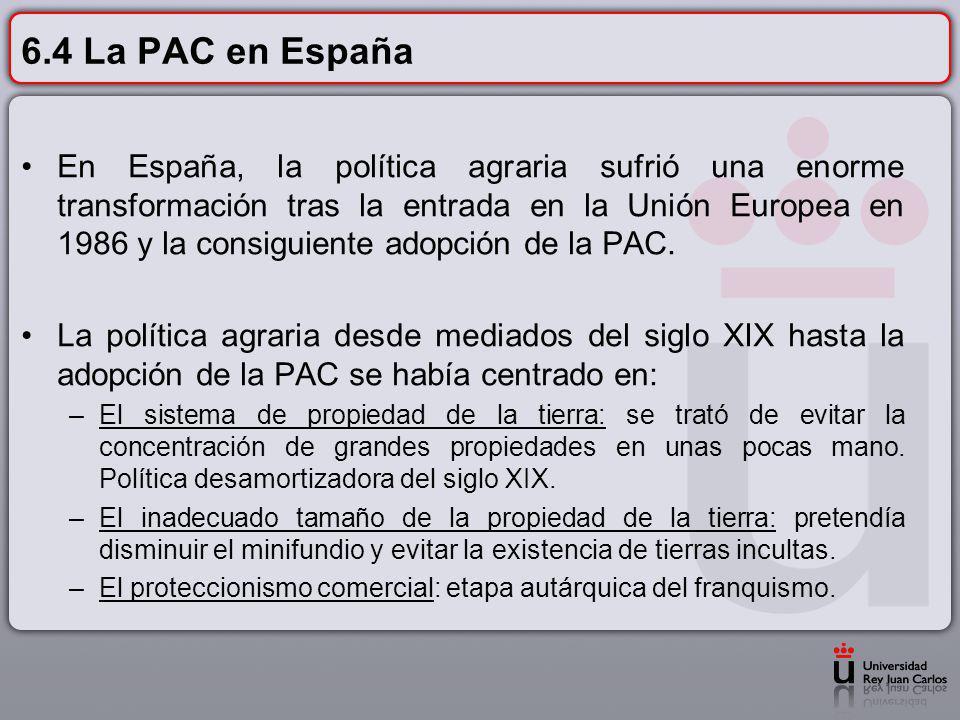 6.4 La PAC en España En España, la política agraria sufrió una enorme transformación tras la entrada en la Unión Europea en 1986 y la consiguiente ado