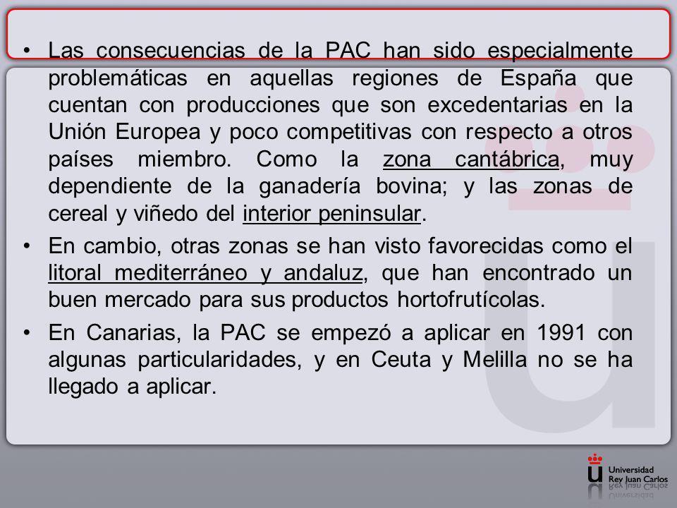 Las consecuencias de la PAC han sido especialmente problemáticas en aquellas regiones de España que cuentan con producciones que son excedentarias en