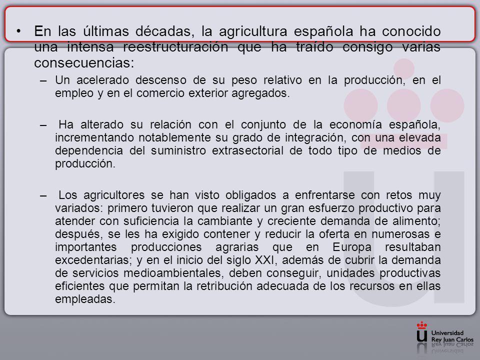 En las últimas décadas, la agricultura española ha conocido una intensa reestructuración que ha traído consigo varias consecuencias: –Un acelerado des