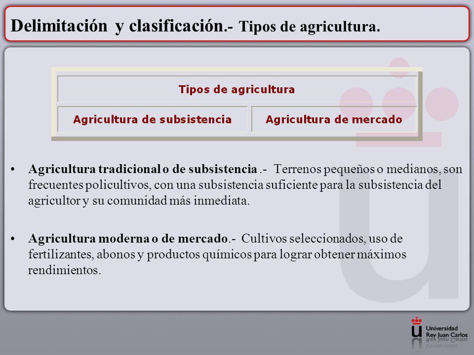Delimitación y clasificación.- Tipos de agricultura. Agricultura tradicional o de subsistencia.- Terrenos pequeños o medianos, son frecuentes policult