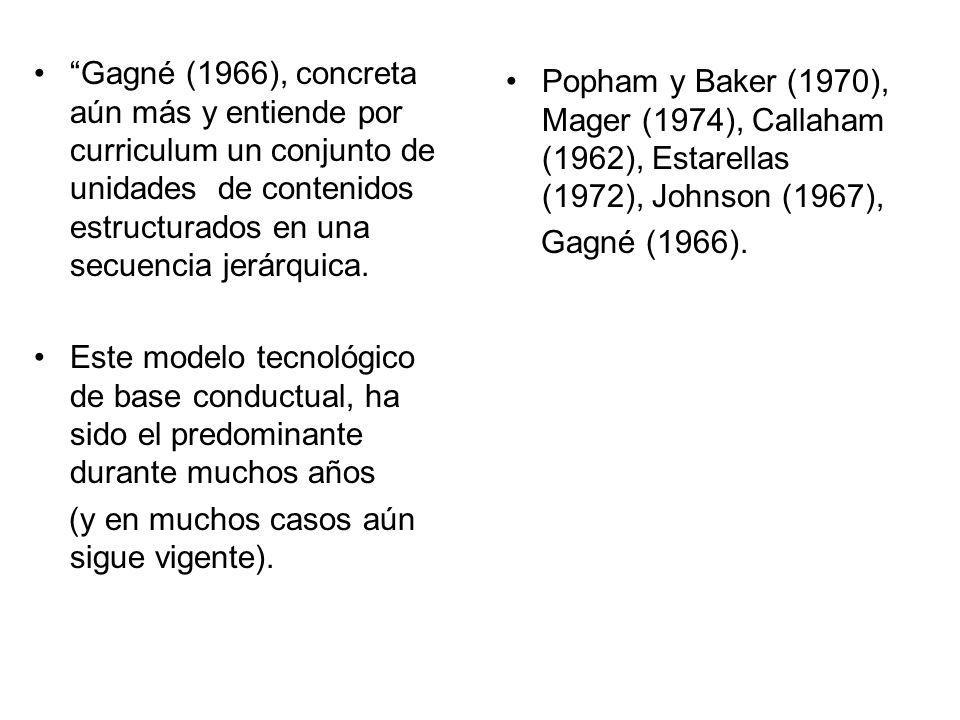 Gagné (1966), concreta aún más y entiende por curriculum un conjunto de unidades de contenidos estructurados en una secuencia jerárquica. Este modelo