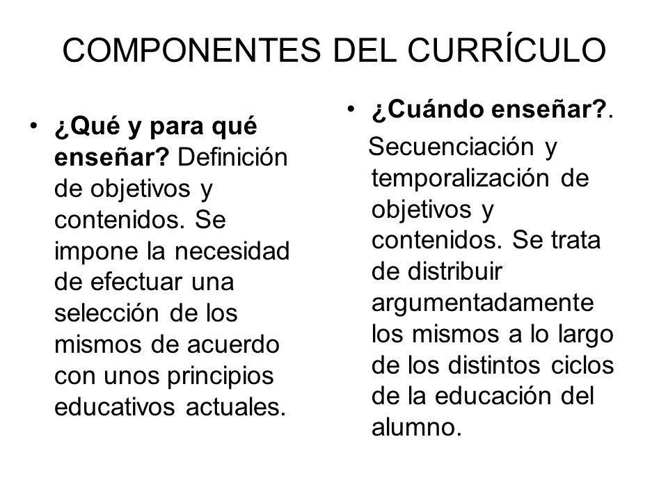 COMPONENTES DEL CURRÍCULO ¿Qué y para qué enseñar? Definición de objetivos y contenidos. Se impone la necesidad de efectuar una selección de los mismo