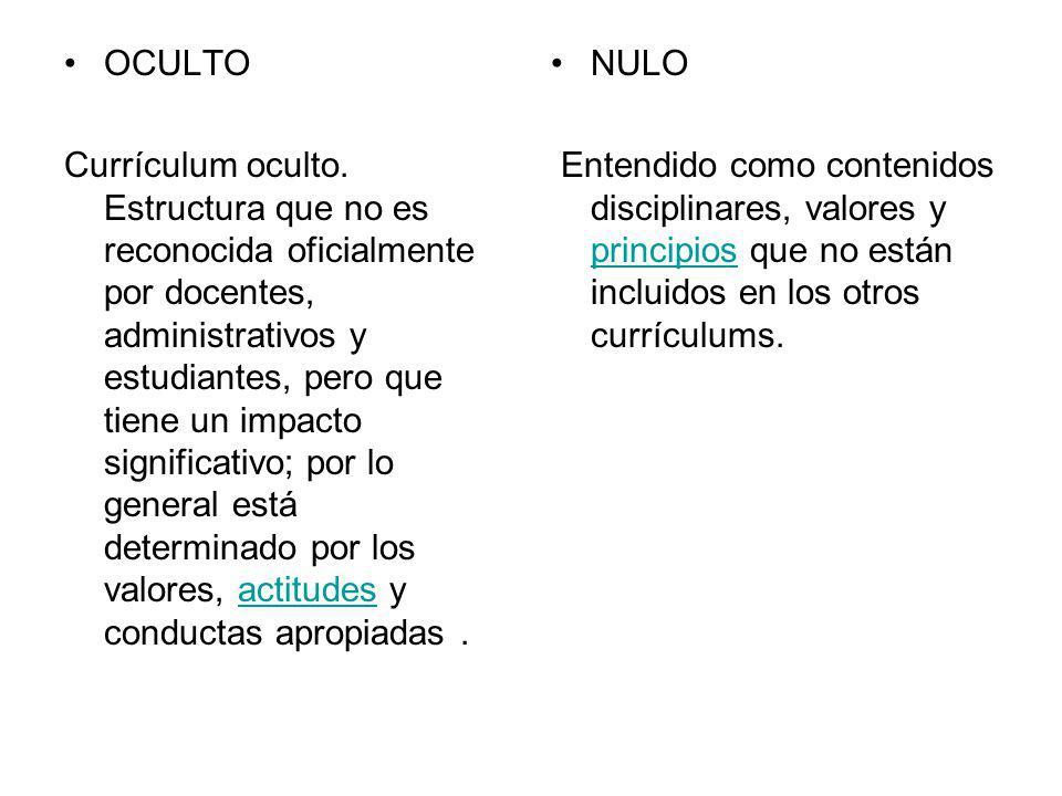 OCULTO Currículum oculto. Estructura que no es reconocida oficialmente por docentes, administrativos y estudiantes, pero que tiene un impacto signific
