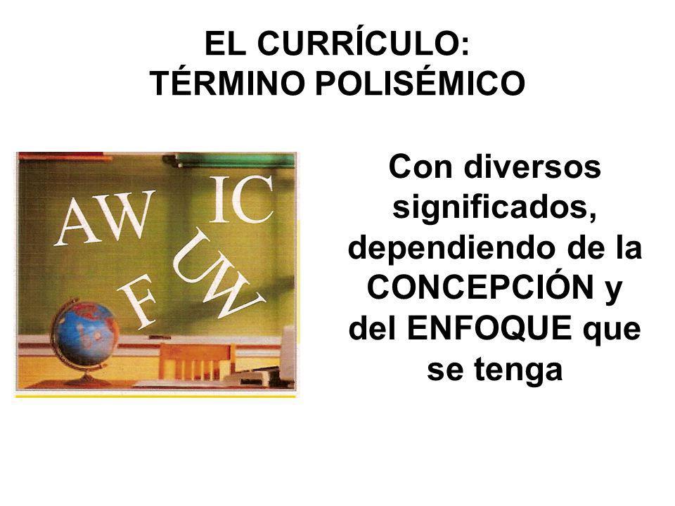 EL CURRÍCULO: TÉRMINO POLISÉMICO Con diversos significados, dependiendo de la CONCEPCIÓN y del ENFOQUE que se tenga