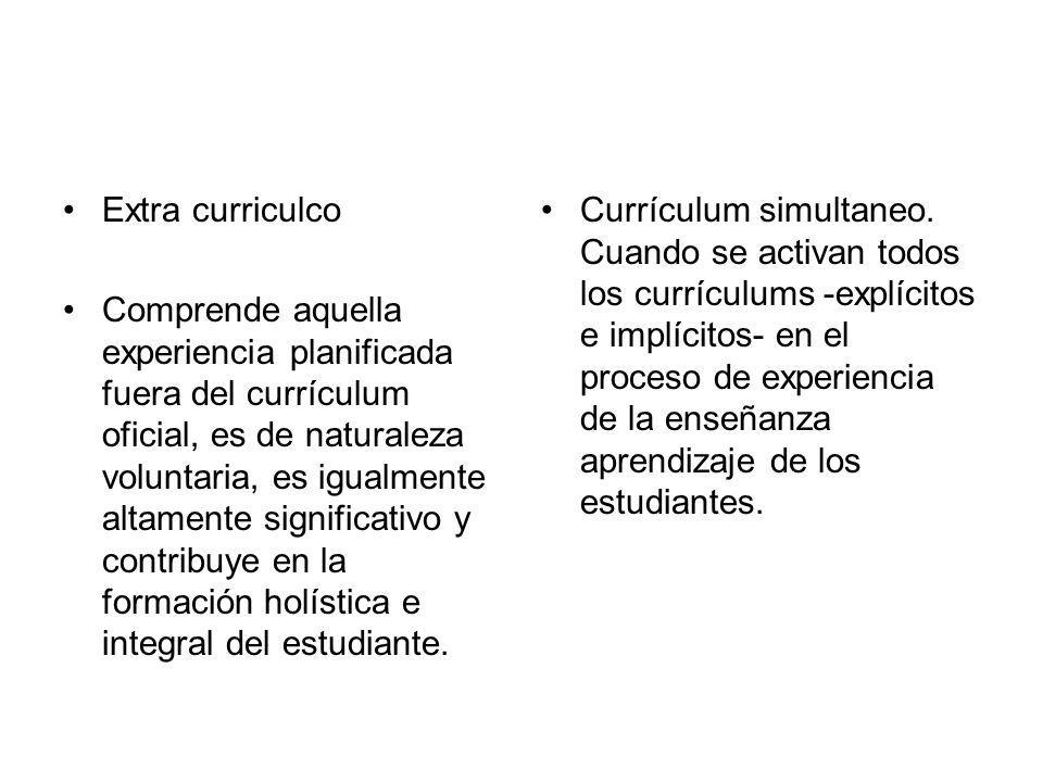 Extra curriculco Comprende aquella experiencia planificada fuera del currículum oficial, es de naturaleza voluntaria, es igualmente altamente signific