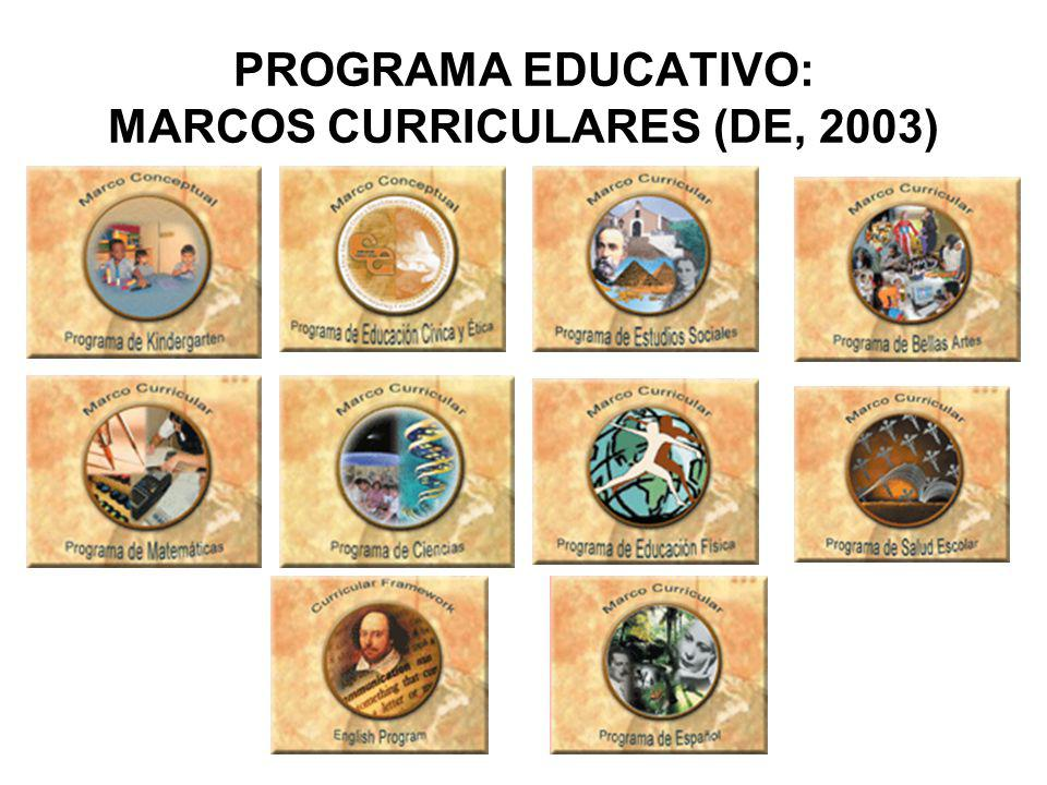 PROGRAMA EDUCATIVO: MARCOS CURRICULARES (DE, 2003)