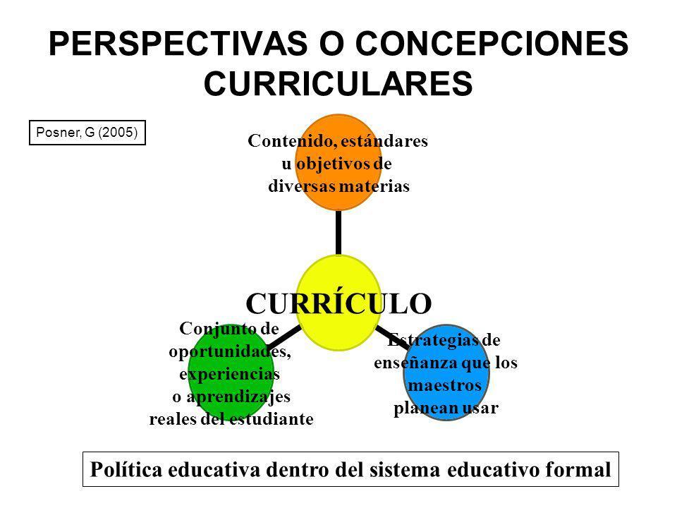 PERSPECTIVAS O CONCEPCIONES CURRICULARES CURRÍCULO Contenido, estándares u objetivos de diversas materias Estrategias de enseñanza que los maestros pl
