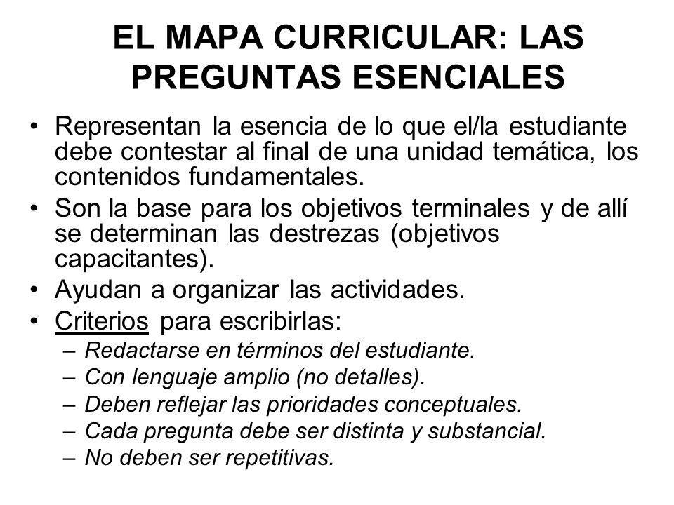 EL MAPA CURRICULAR: LAS PREGUNTAS ESENCIALES Representan la esencia de lo que el/la estudiante debe contestar al final de una unidad temática, los con