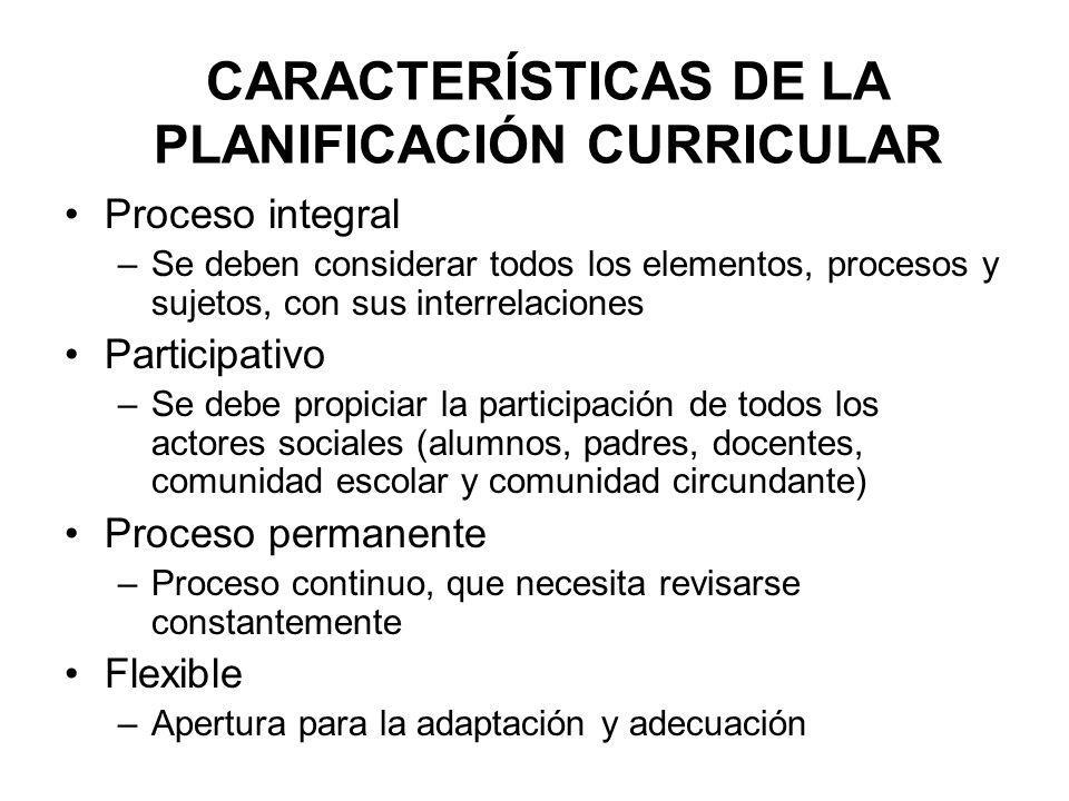 CARACTERÍSTICAS DE LA PLANIFICACIÓN CURRICULAR Proceso integral –Se deben considerar todos los elementos, procesos y sujetos, con sus interrelaciones
