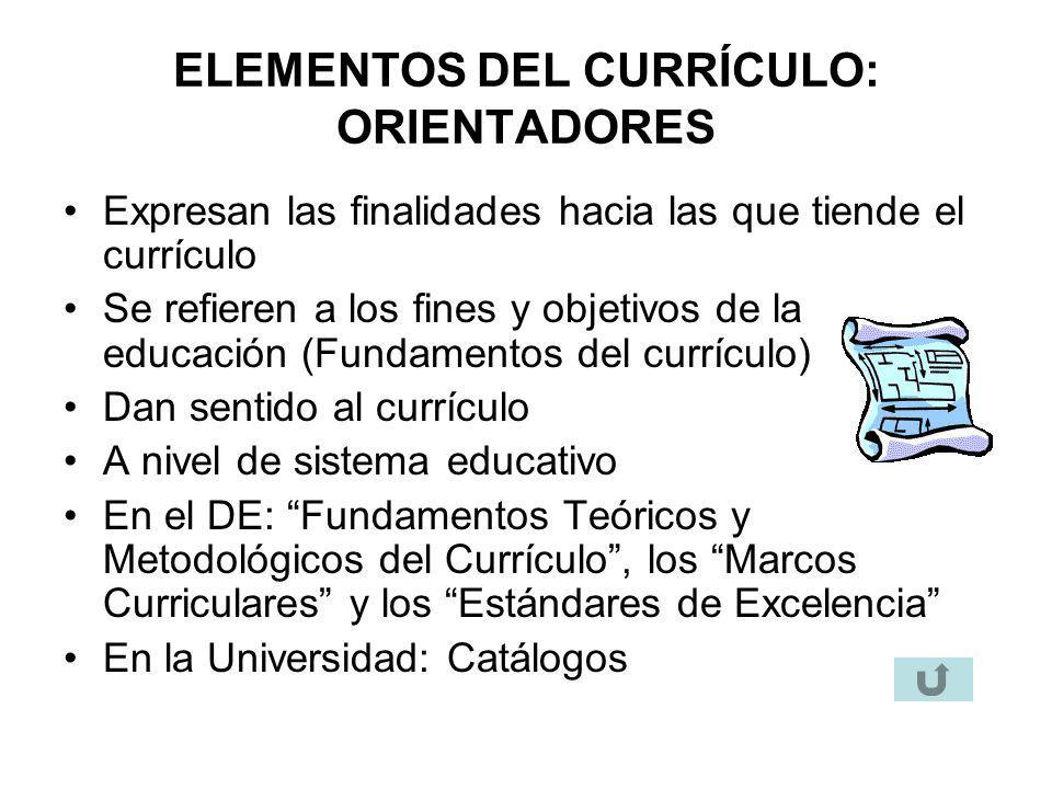 ELEMENTOS DEL CURRÍCULO: ORIENTADORES Expresan las finalidades hacia las que tiende el currículo Se refieren a los fines y objetivos de la educación (