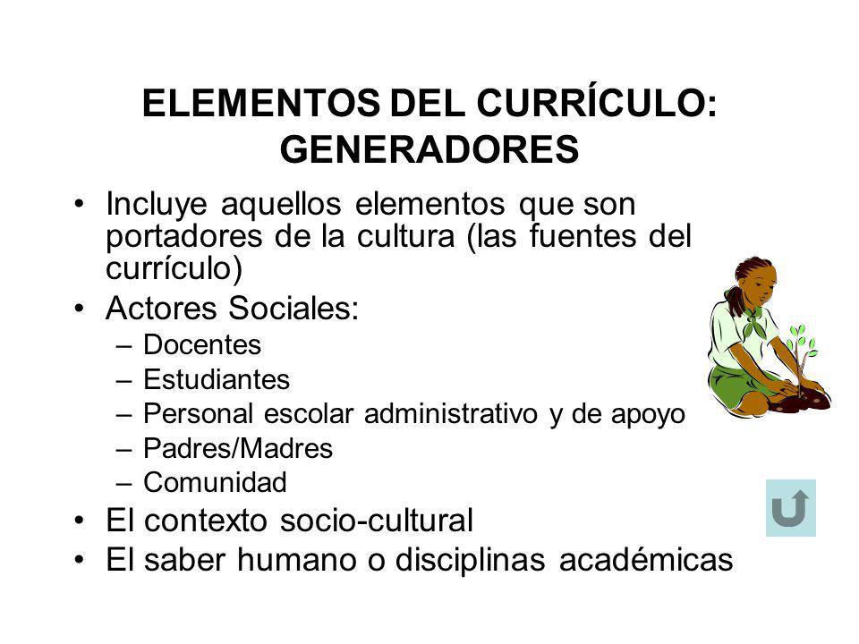 ELEMENTOS DEL CURRÍCULO: GENERADORES Incluye aquellos elementos que son portadores de la cultura (las fuentes del currículo) Actores Sociales: –Docent