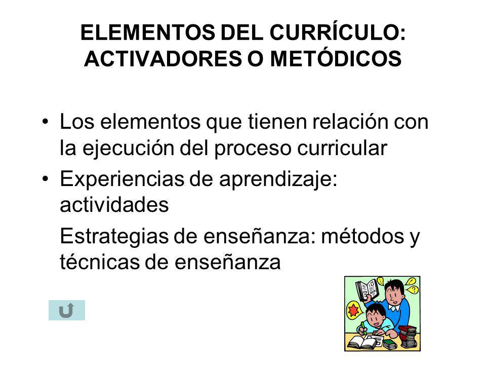 ELEMENTOS DEL CURRÍCULO: ACTIVADORES O METÓDICOS Los elementos que tienen relación con la ejecución del proceso curricular Experiencias de aprendizaje