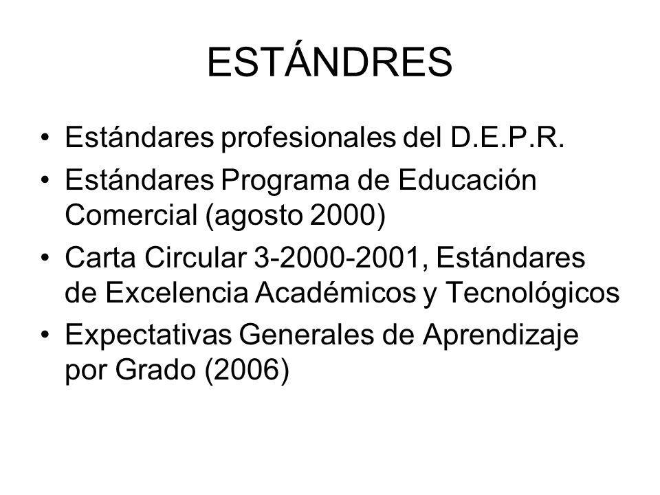 ESTÁNDRES Estándares profesionales del D.E.P.R. Estándares Programa de Educación Comercial (agosto 2000) Carta Circular 3-2000-2001, Estándares de Exc