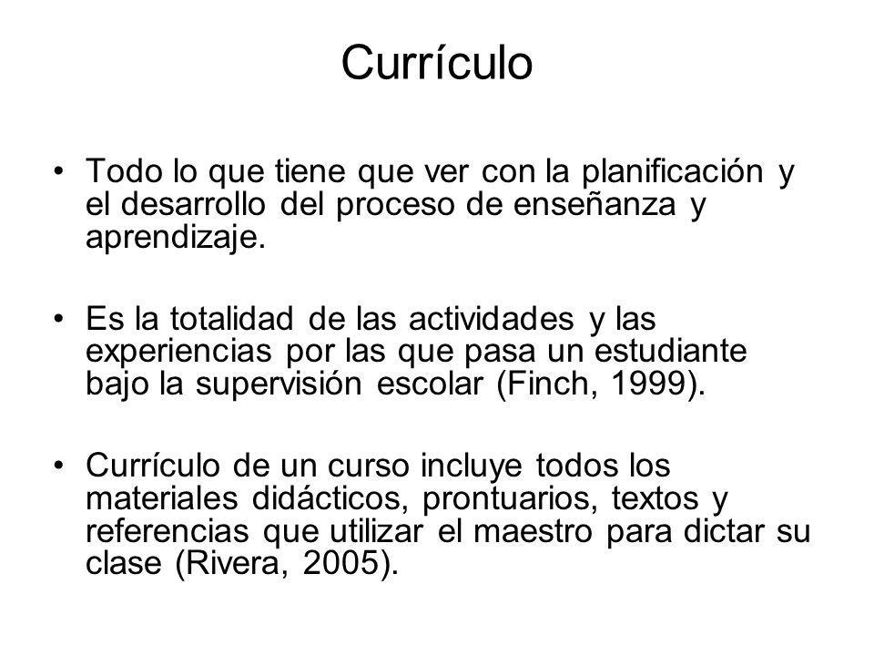 Definición de Currículo por varios exponentes Caswell y Campbell (1935) definen el curriculum como un conjunto de experiencias que los alumnos llevan a cabo bajo la orientación de la escuela.