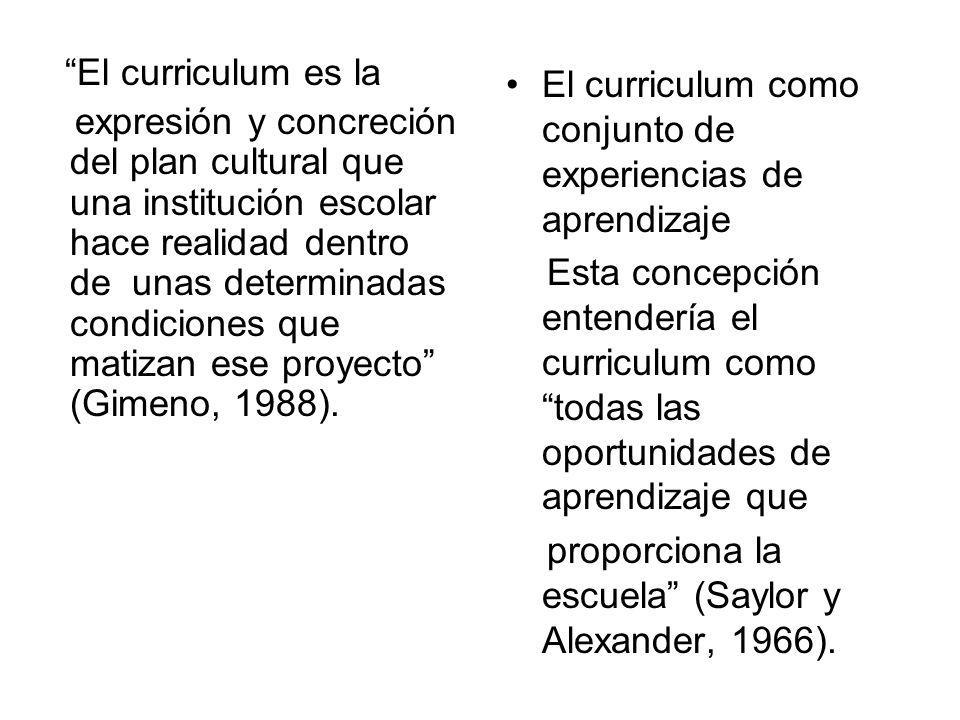 El curriculum es la expresión y concreción del plan cultural que una institución escolar hace realidad dentro de unas determinadas condiciones que mat