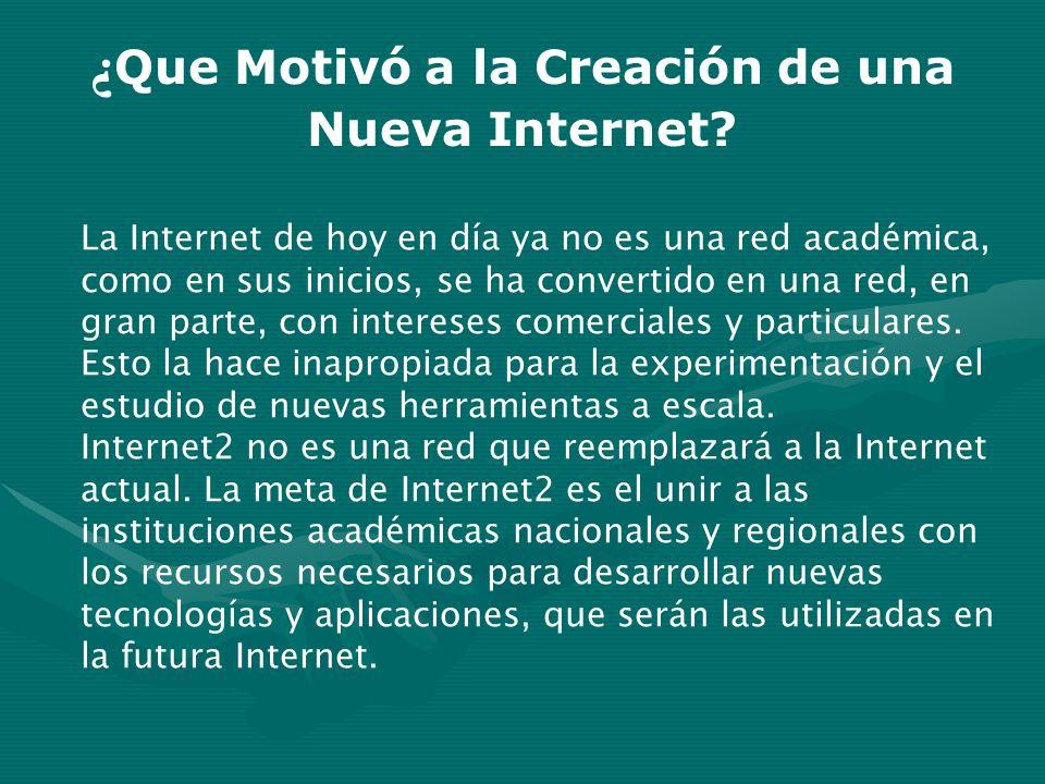 ¿ Que Motivó a la Creación de una Nueva Internet? La Internet de hoy en día ya no es una red académica, como en sus inicios, se ha convertido en una r