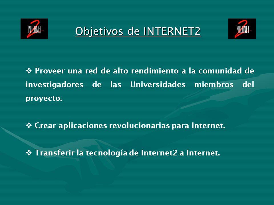 Objetivos de INTERNET2 Proveer una red de alto rendimiento a la comunidad de investigadores de las Universidades miembros del proyecto. Crear aplicaci