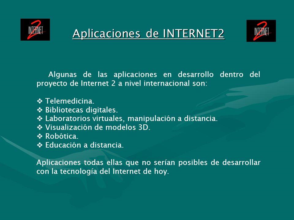 Aplicaciones de INTERNET2 Algunas de las aplicaciones en desarrollo dentro del proyecto de Internet 2 a nivel internacional son: Telemedicina. Bibliot