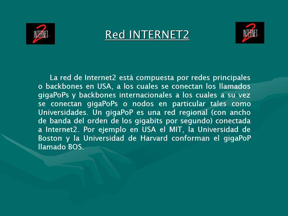 Red INTERNET2 La red de Internet2 está compuesta por redes principales o backbones en USA, a los cuales se conectan los llamados gigaPoPs y backbones