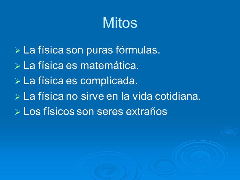 Mitos La física son puras fórmulas.La física es matemática.