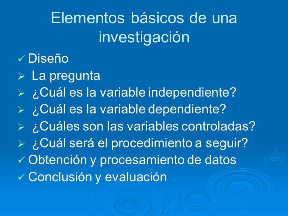 Elementos básicos de una investigación Diseño La pregunta ¿Cuál es la variable independiente.