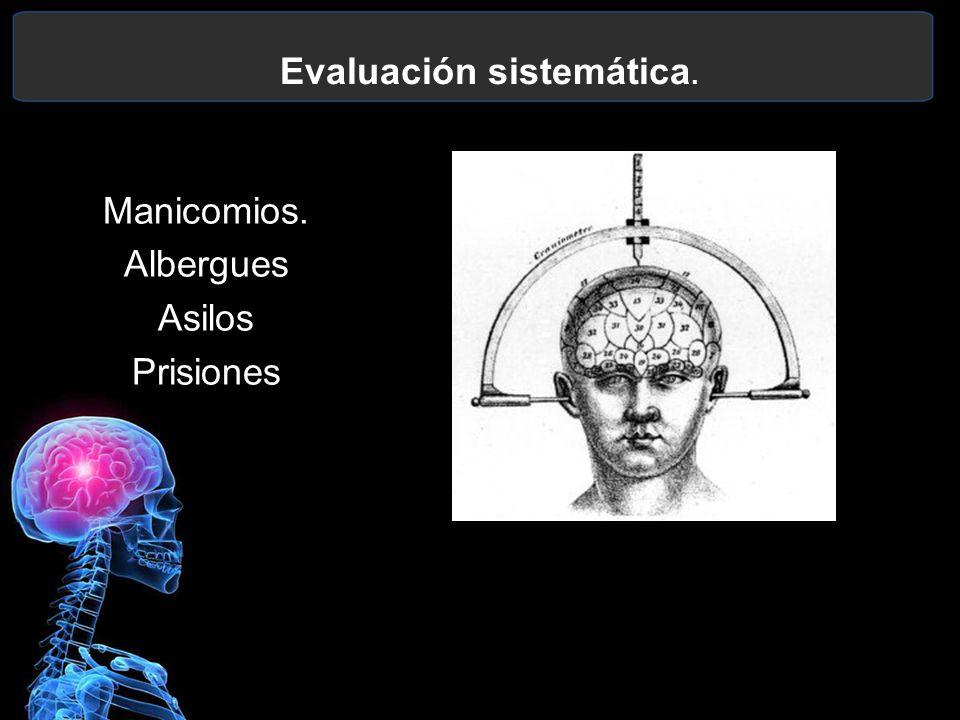 Evaluación sistemática. Manicomios. Albergues Asilos Prisiones
