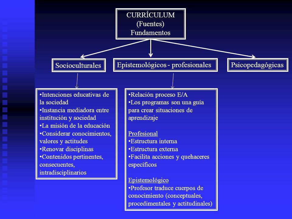 CURRÍCULUM (Fuentes) Fundamentos Socioculturales Epistemológicos - profesionalesPsicopedagógicas Intenciones educativas de la sociedad Instancia media
