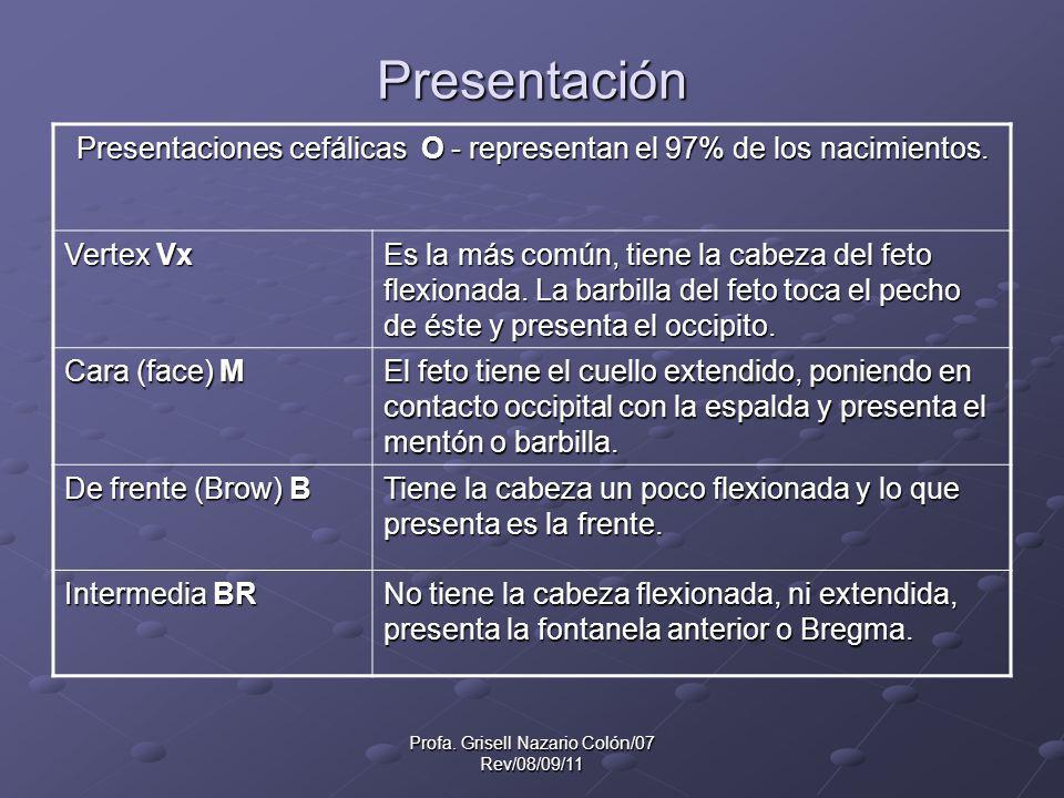 Profa. Grisell Nazario Colón/07 Rev/08/09/11 Presentación Presentaciones cefálicas O - representan el 97% de los nacimientos. Vertex Vx Es la más comú