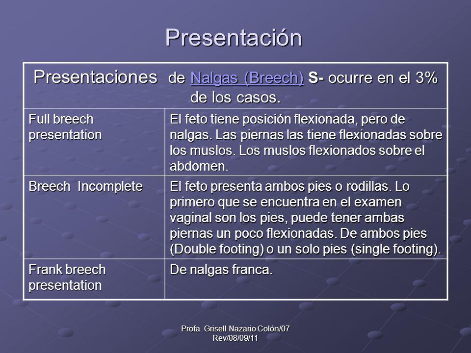 Profa. Grisell Nazario Colón/07 Rev/08/09/11 Presentación Presentaciones de Nalgas (Breech) S- ocurre en el 3% de los casos. Nalgas (Breech)Nalgas (Br