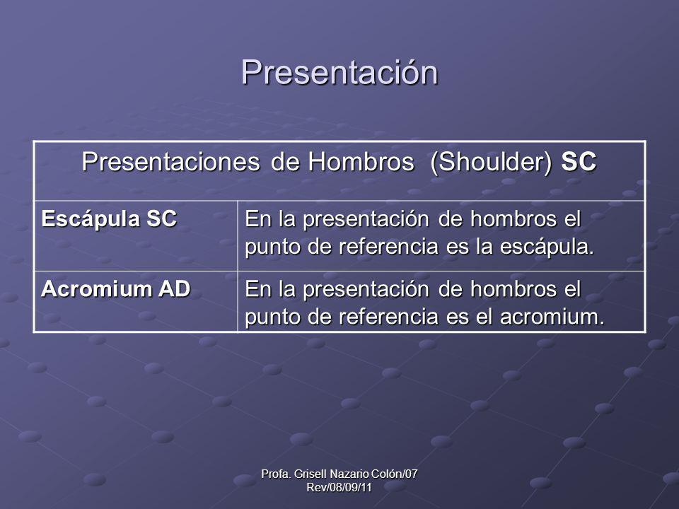 Profa. Grisell Nazario Colón/07 Rev/08/09/11 Presentación Presentaciones de Hombros (Shoulder) SC Escápula SC En la presentación de hombros el punto d