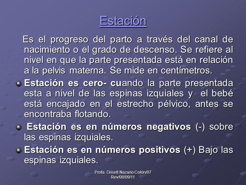 Profa. Grisell Nazario Colón/07 Rev/08/09/11 Estación Es el progreso del parto a través del canal de nacimiento o el grado de descenso. Se refiere al