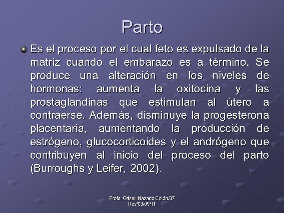Profa. Grisell Nazario Colón/07 Rev/08/09/11 Parto Es el proceso por el cual feto es expulsado de la matriz cuando el embarazo es a término. Se produc