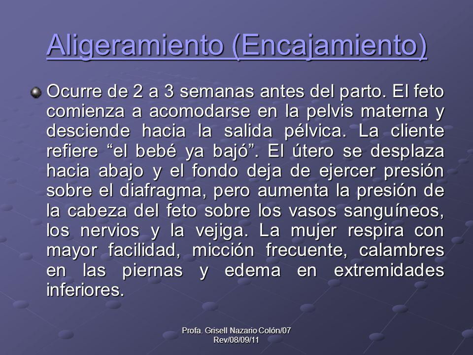 Profa. Grisell Nazario Colón/07 Rev/08/09/11 Aligeramiento (Encajamiento) Aligeramiento (Encajamiento) Ocurre de 2 a 3 semanas antes del parto. El fet