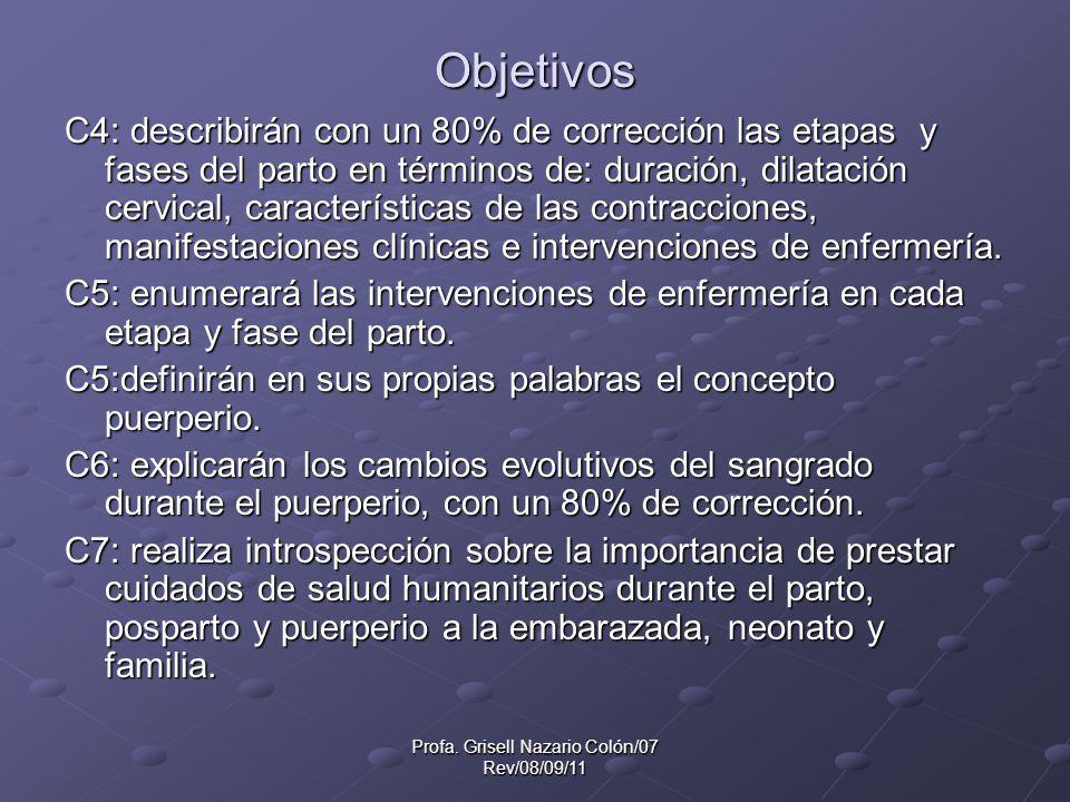 Profa. Grisell Nazario Colón/07 Rev/08/09/11 Objetivos C4: describirán con un 80% de corrección las etapas y fases del parto en términos de: duración,